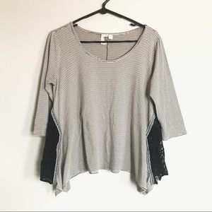 Anthropologie Quarter Sleeve Striped Lace Top